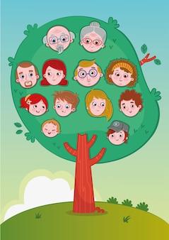 Family tree cartoon illustration