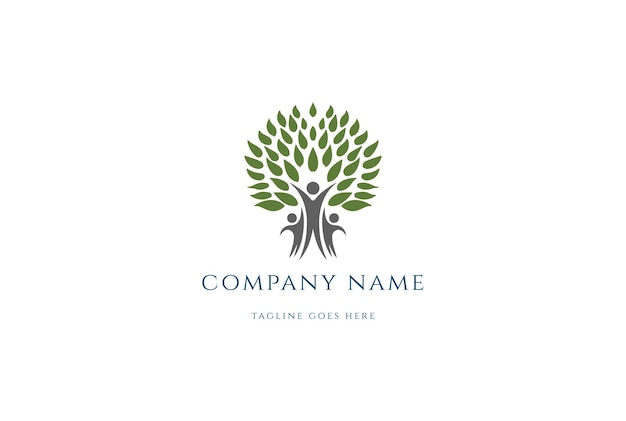 Family tree for charity , community , diversity and foundation logo design vector