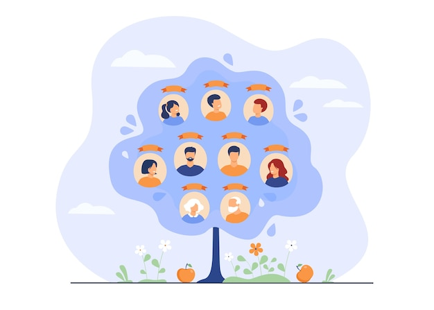 Family tree concept. scheme of ancestry with three generations, relatives connection data.