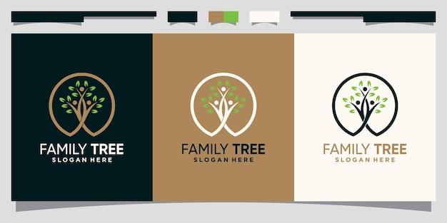 Шаблон дизайна логотипа генеалогического дерева с круговой линией в стиле арт premium векторы