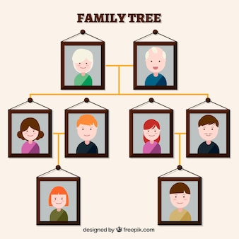 Family tree made with decorative frames