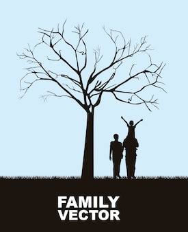 Family under tree over sky background vector illustration