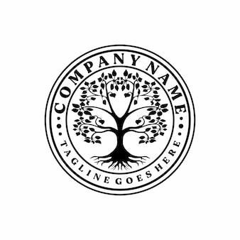 Family tree stamp seal emblem oak banyan maple logo vector design