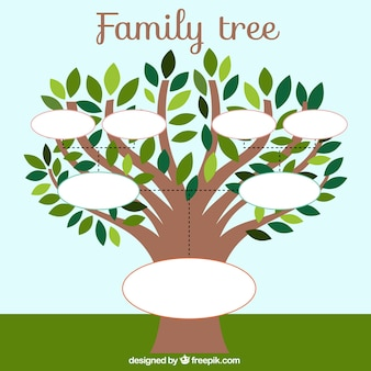 Family tree template with leaves