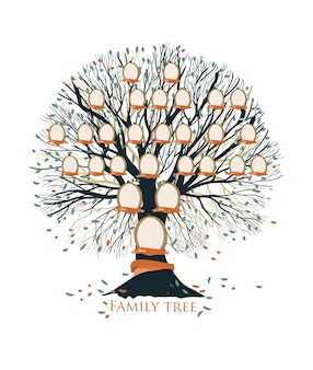 Family tree with branches, leaves and empty photo frames