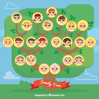 Family tree with members in flat design