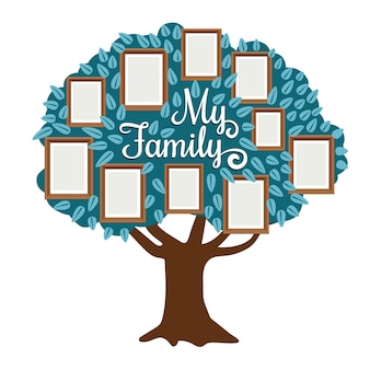 Family tree with photo frame isolated on white