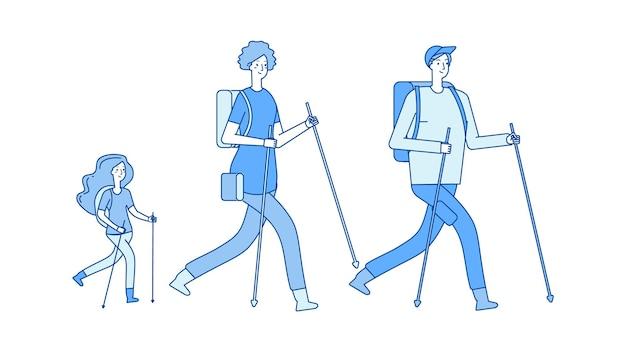 가족 여행. 하이킹 트레킹, 엄마 아빠 딸이 건강한 생활 방식을 선도합니다. 사람들은 자연 벡터 삽화를 따라 걷습니다. 트레킹 및 하이킹 활동, 가족 여행
