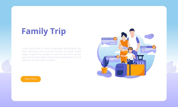 Family trip landing page template