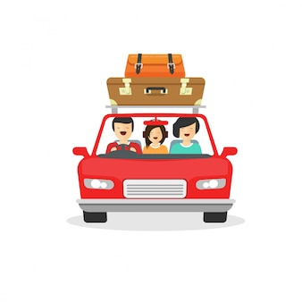 Family trip or tour by car with happy people driving