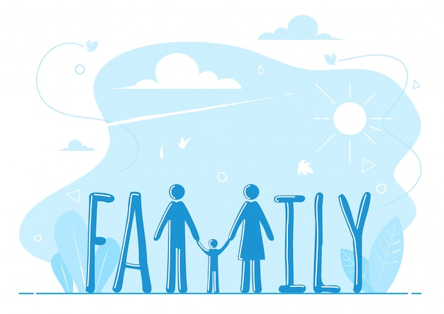 Family typeface with blue background