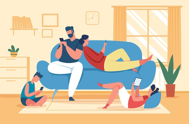 Family using smartphones and tablets, parents and kids with phones. social media addiction, children use gadgets at home vector illustration. father, mother and children with devices