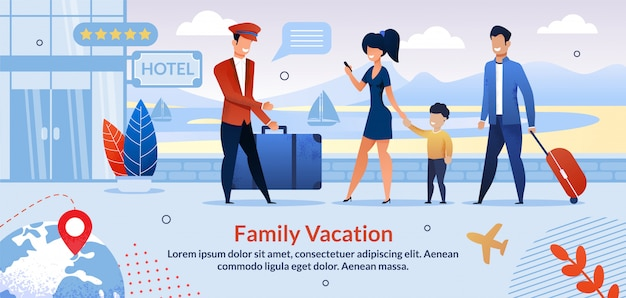Family on vacation check into hotel flat template