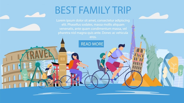 Family vacation in foreign country vector banner