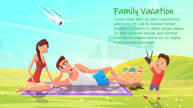Family vacation, happy members on picnic banner