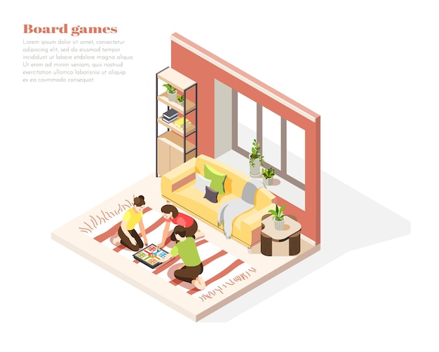 Family vacation at home isometric composition with people sitting on floor and playing together board game