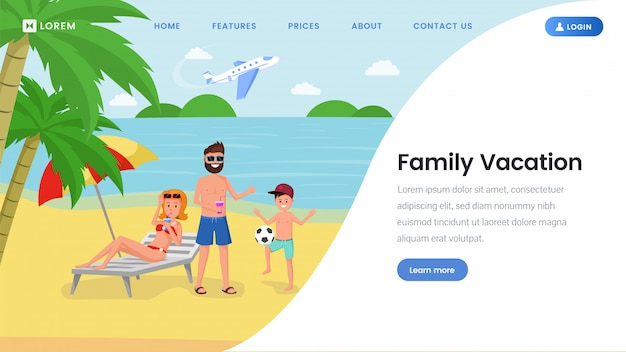 Family vacation landing page  template