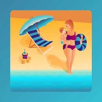 家族での休暇、ママと赤ちゃんは海に泳ぎに行きます。夏ベクトルフラットイラスト。