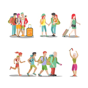 Набор для семейного отдыха. мужчина женщина дети собираются весело провести время интересные праздники иллюстрации. коллекция стиля жизни туризма путешествия.