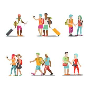 家族での休暇セット。行く男女の子供たちは楽しい休日のイラストを楽しんでいます。旅行観光ライフスタイルコレクション。