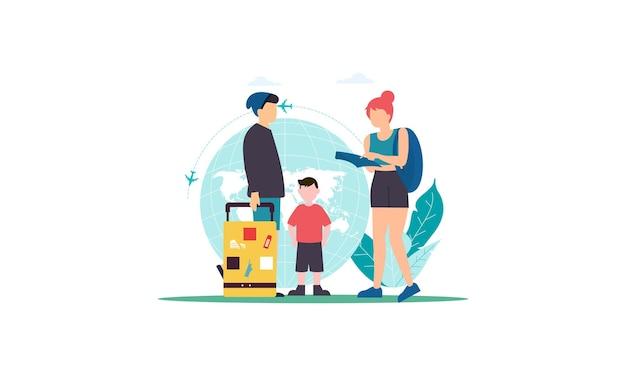 Семейный отдых, путешествия, семейная поездка, иллюстрация