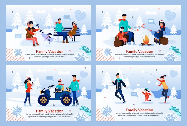 Family vacation on winter holiday flat template set