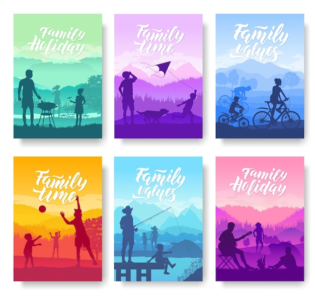 Family vacation with children in nature cards set. friendly resorts template of flyear, magazines.
