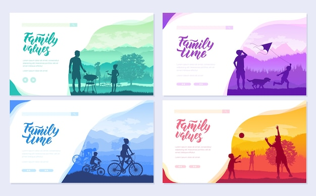 Family vacation with children in nature cards set. friendly resorts  template of flyear, web banner.