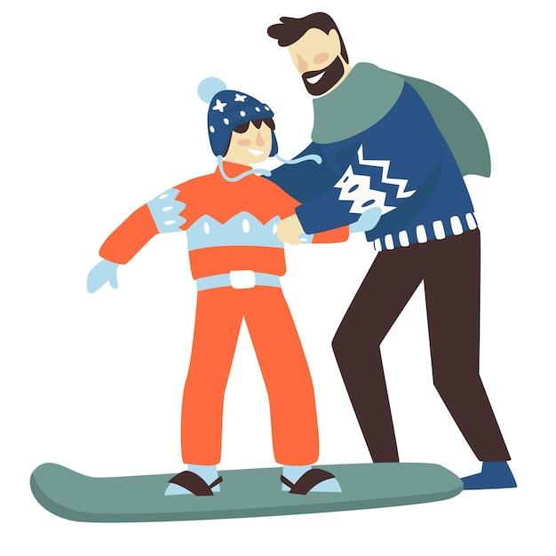 겨울에는 가족 휴가 및 휴가 활동. 작은 아들에게 스노우보드를 가르치는 아버지. 아빠나 강사가 아이가 스포츠 기초를 배우도록 도와줍니다. 추운 계절 벡터의 레크리에이션 및 휴식