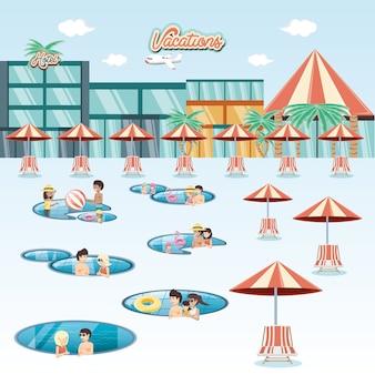 Семейные каникулы в плавающем бассейне