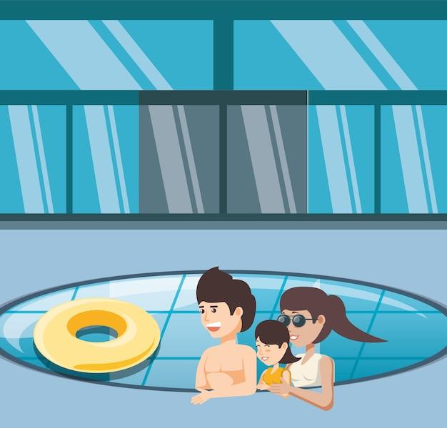 Семейные каникулы в бассейне icon vectorilustration water