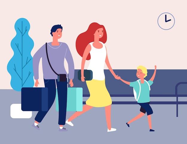 家族での休暇。空港、バスの駅の人々。