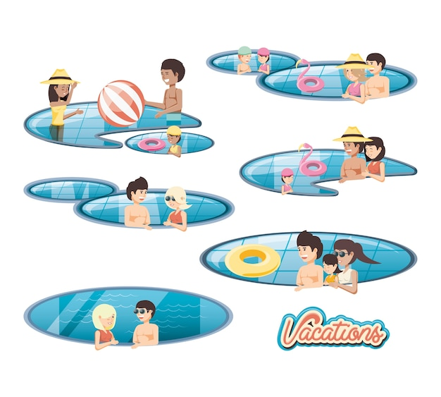 Family vacations in pool travel vector ilustration