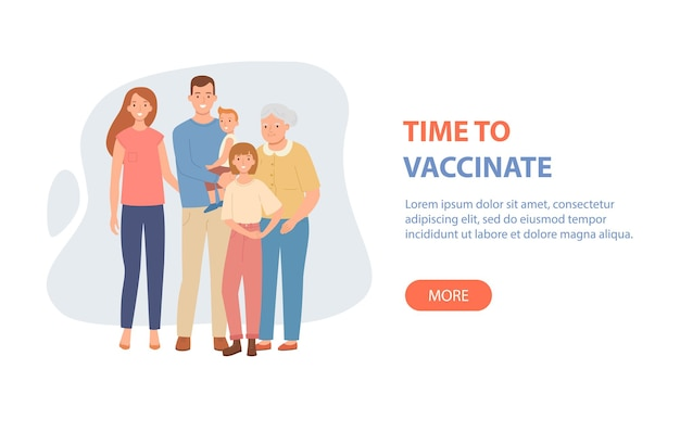 Family vaccination concept for covid19 or influenza vector illustration in a flat style