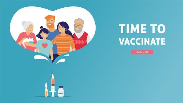 家族の予防接種の概念設計。バナーに予防接種をする時間-covid-19、インフルエンザのワクチンが入った注射器