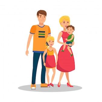 Family values flat cartoon vector illustration