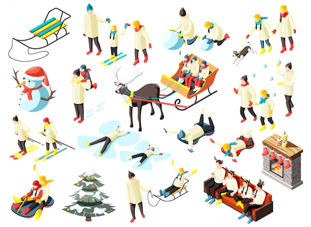 Family in various activity during winter holidays set of isometric icons isolated