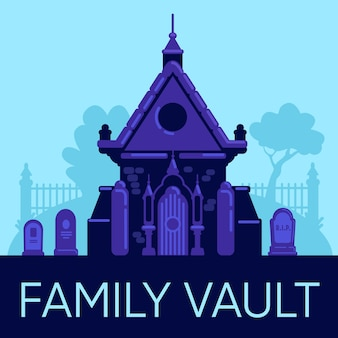 Family vault social media post mockup. web banner design template. old stone crypt in cemetery. booster, content layout with inscription. poster, print ads and flat illustration