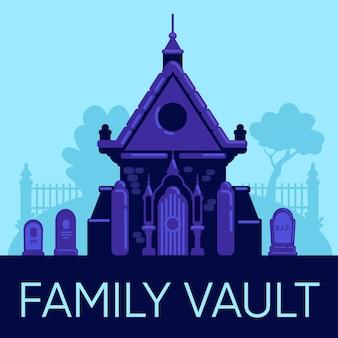 Family vault 소셜 미디어 게시물 모형. 웹 배너 디자인 템플릿입니다. 묘지에있는 오래 된 돌 토굴. 부스터, 비문이있는 콘텐츠 레이아웃. 포스터, 인쇄 광고 및 평면 그림