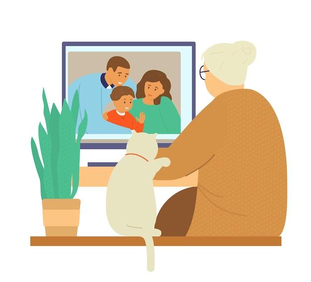 Семейный видеочат. бабушка разговаривает с семьей дочери по видеосвязи.