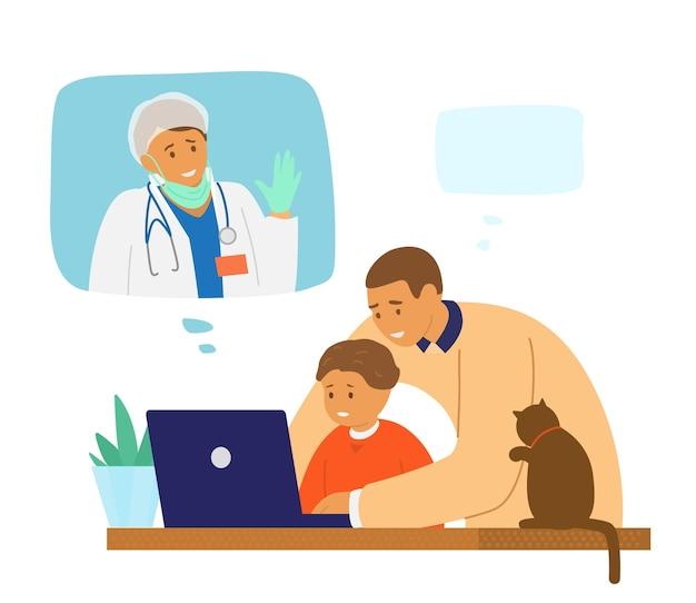 가족 화상 회의. 아이를 둔 아빠는 병원에서 코로나 바이러스 전염병과 싸우는 의사 인 아내와 화상 채팅을 통해 이야기합니다.