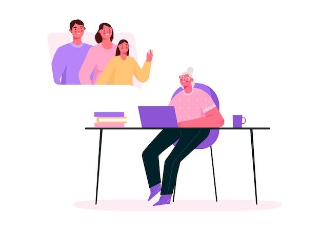 Семейная видеоконференция в плоском дизайне