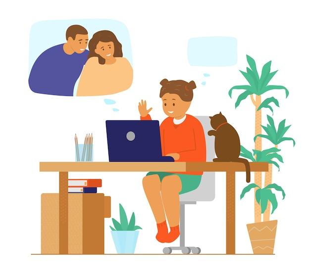 家族のビデオ会議。オンラインコミュニケーション。ビデオ通話で両親とチャットしている女の子。