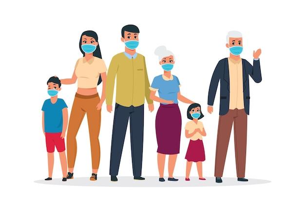 가족 바이러스. 코로나바이러스와 감염을 위해 의료용 인공호흡기 마스크를 쓴 노인과 젊은 캐릭터. 벡터 연도 보호 개념, 보호 마스크 소녀, 어린이, 여성, 남성을 착용