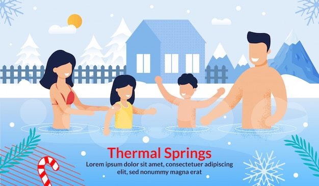 Family visiting thermal springs on vacation ad