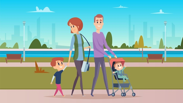 Family walk in city park. happy parenthood, cute cartoon babies. mother, father and sons  character.