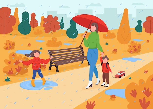 Family walk in fall park flat color illustration