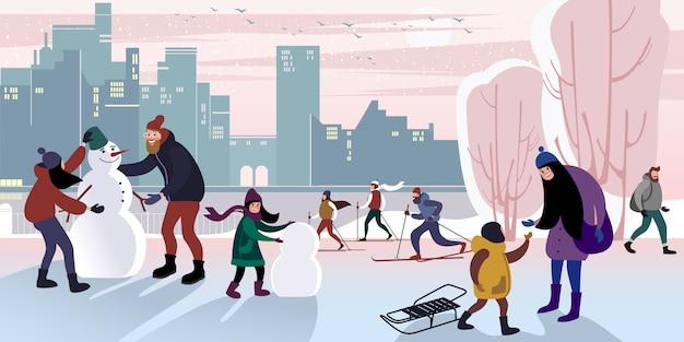 家族は冬の都市公園を散歩して、パパと一緒に雪だるまを作ります。ベクトルフラットイラスト。