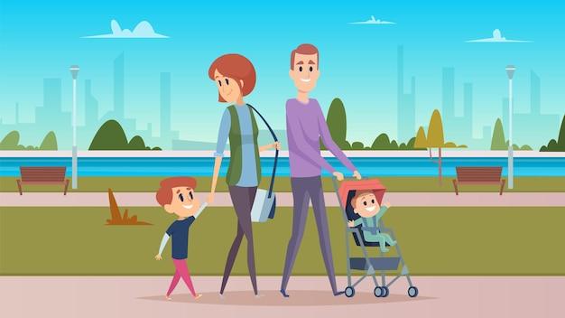 도시 공원에서 가족 산책. 행복한 부모, 귀여운 만화 아기. 어머니, 아버지 및 아들 캐릭터.