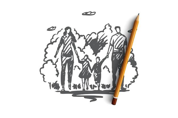 家族散歩公園の両親のイラスト